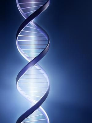 Grafik mit blauen DNA-Spirale